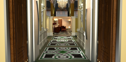 """Arte Dell' Abitare - Progetto di Restyling  dell' Hotel  """"La Griffe"""" - Ingresso - Rendering : Maria Gabriella Milinci - Charlotte Brancuci"""