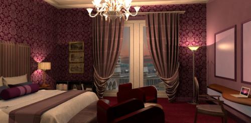 """Arte Dell' Abitare - Progetto di Restyling  dell' Hotel  """"La Griffe"""" - Camera - Rendering : Maria Gabriella Milinci - Charlotte Brancuci"""